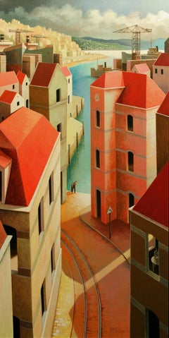 A warm Sunday-afternoon 21st Century, contemporary painting by Michiel Schrijver