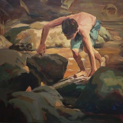 Boy climbing on rocks- 21st Century Contemporary Painting by Dutch Mitzy Renooy