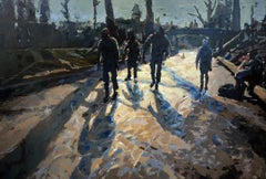 Dutch Winter, Iceskating in Giethoorn,  Contemporary Painting by Mitzy Renooy