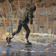 Ice Skating boy- 21st Century Contemporary Figurative Painting by Mitzy Renooy