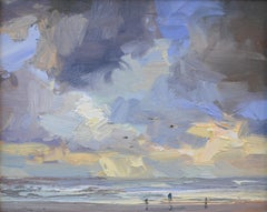 Seascape Morning, Yellow Light & Clouds- 21st Century Contemporary Painting