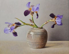 Iris in Old Ginger Jar, Ingrid Smuling, 21st Century Contemporary Painting