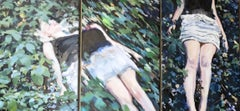 Young girl lying in the grass-21st Century Contemporary Triptych Figure Painting