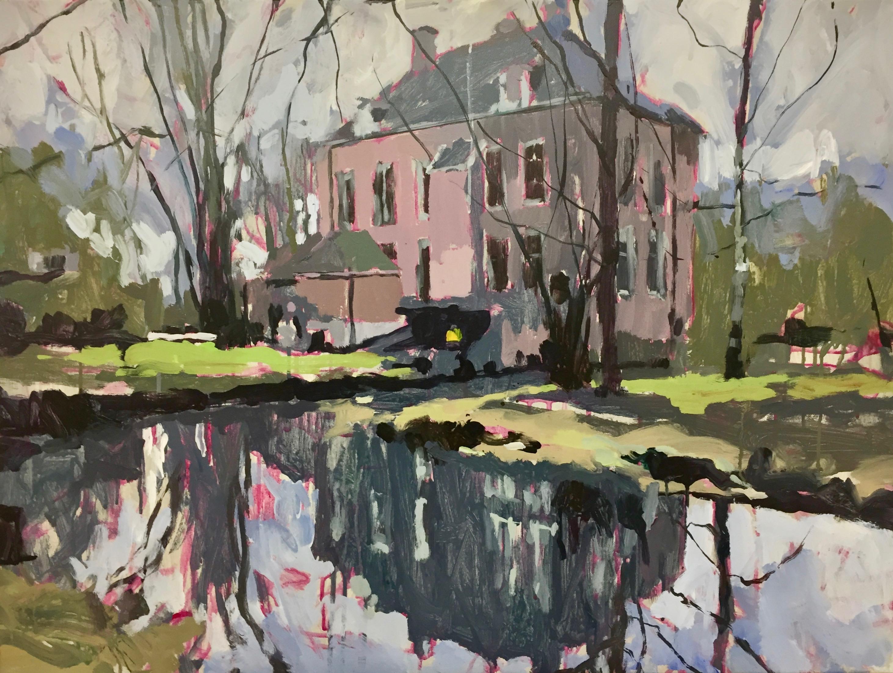 Dutch Villa- 21st Century Contemporary Landscape Painting by Eric Schutte