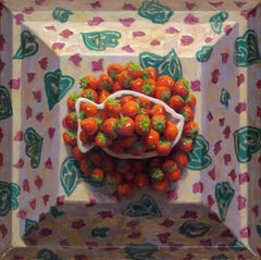 Dish of strawberries- 21st Century Still-life Painting by Dutch Mario ter Braak