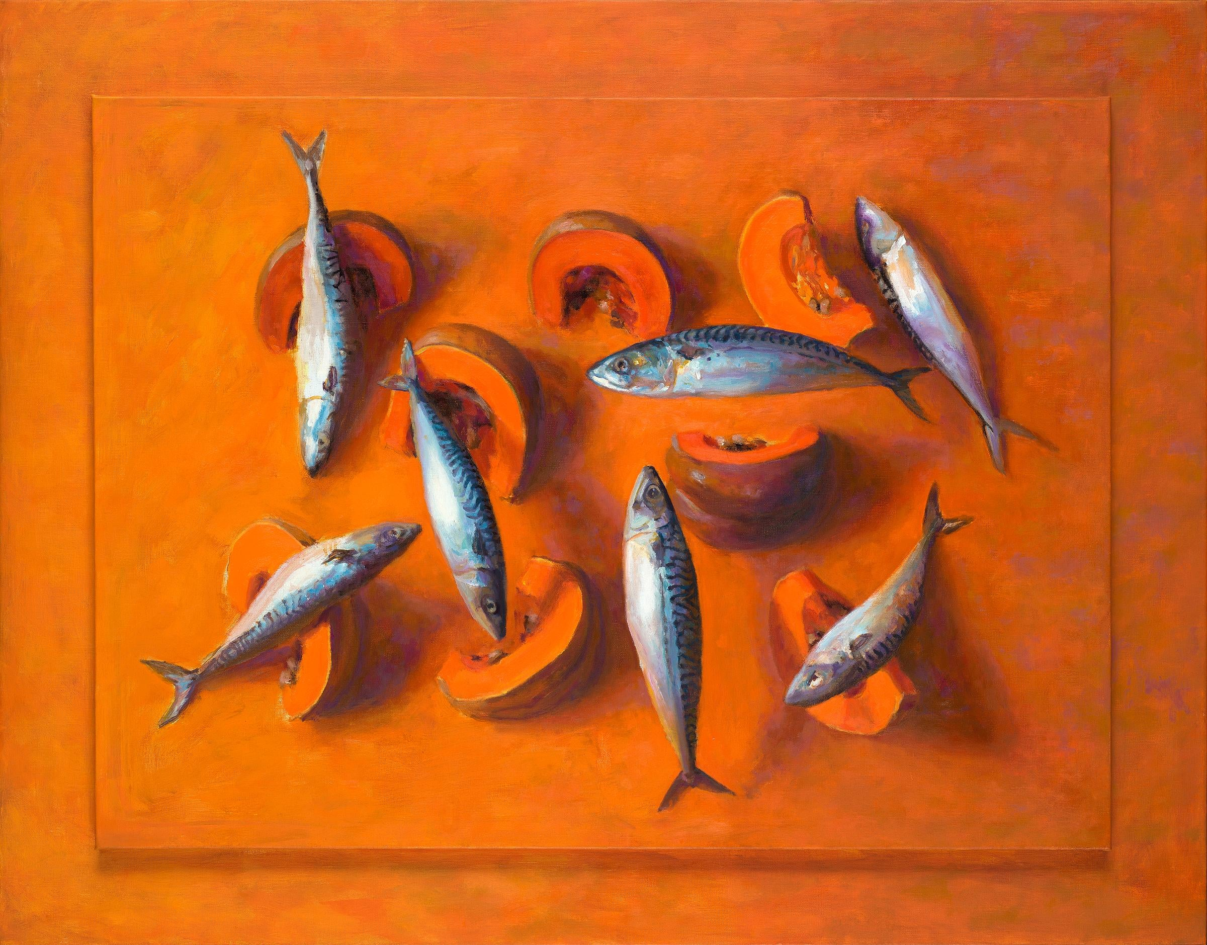 7 (seven) Fishes and One Pumpkin-21st Century Contemporary Still-life Painting