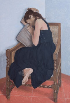 Woman in Black Dress-21st Century Contemporary Figure Painting by Adolfo Ramon