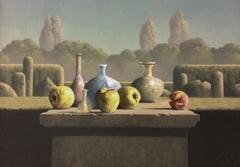 Still-life Apples and Roman glass-21st Century Contemporary  Landscape Painting