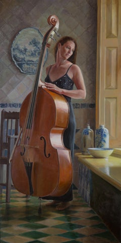 Woman with her Double Bass in Dutch Interior- 21st Century Contemporary Painting