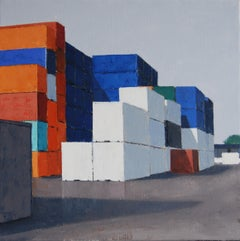 Containers-21st Century Contemporary Industrial Painting by Dutch Gineke Zikken