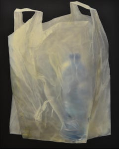 Plastic Bag with Blue Bottle- 21st Century Contemporary Still-life Painting