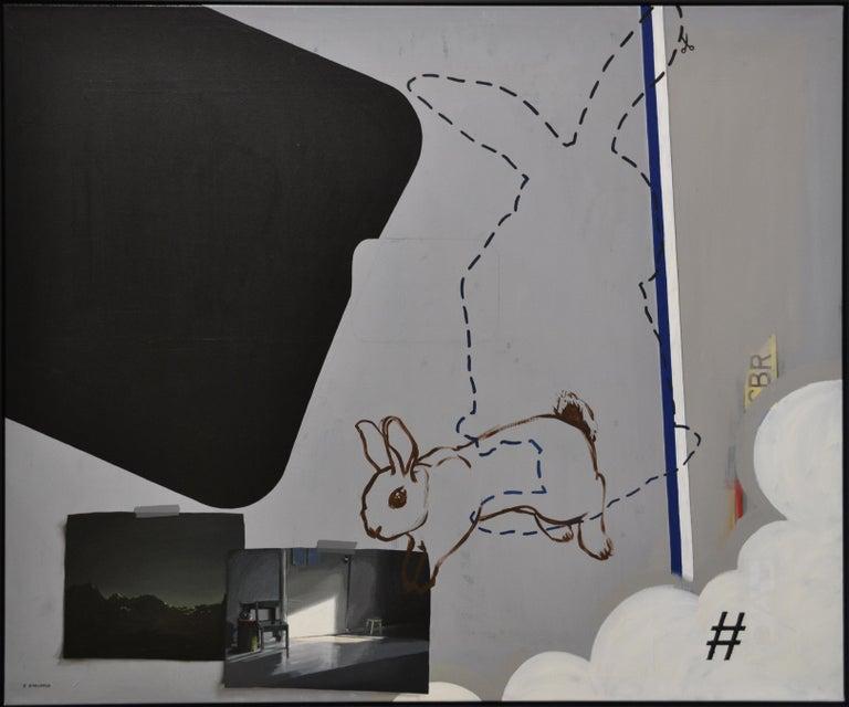 Rineke Engwerda Animal Painting - Reality, Relativity and Rabbits, Social Media-21st Century Contemporary Painting
