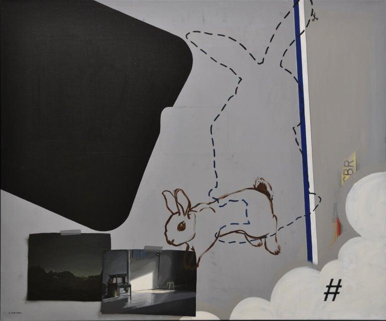 Reality, Relativity and Rabbits, Social Media-21st Century Contemporary Painting - Gray Animal Painting by Rineke Engwerda