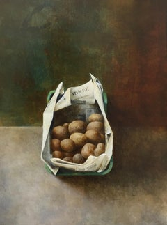 Casket with Potatoes-21 st Century Contemporary Still-life of Vegetables