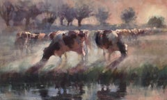 Cows in the Morning-21st Century Contemporary Dutch Landscape Painting