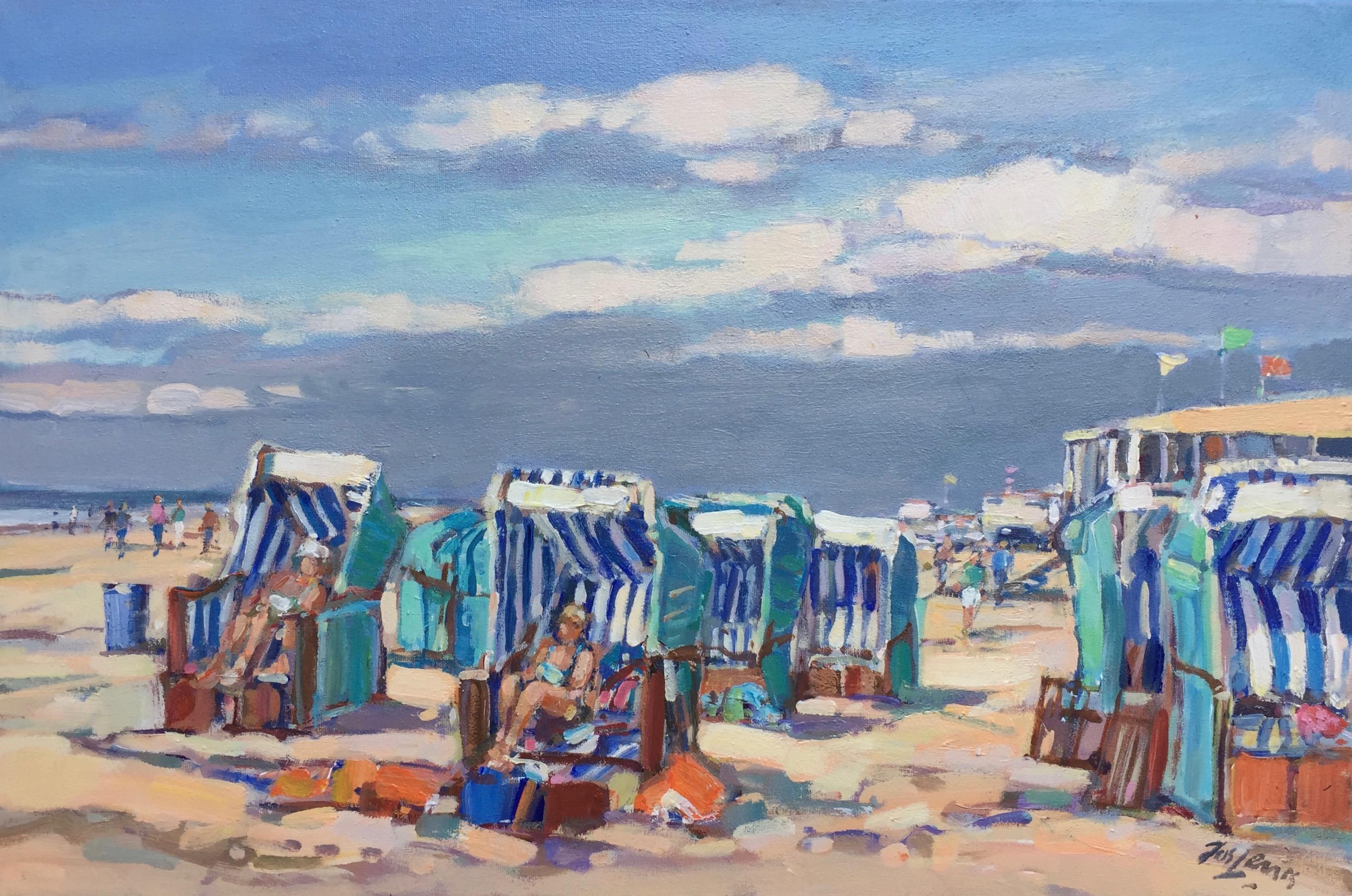 Beach Stables, Bergen- 21 st Century Dutch Impressionistic Plein Air Painting