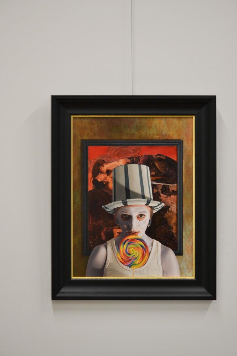 Stuck -  21st Century contemporary narrative portrait painting - Painting by Gerard Schriemer