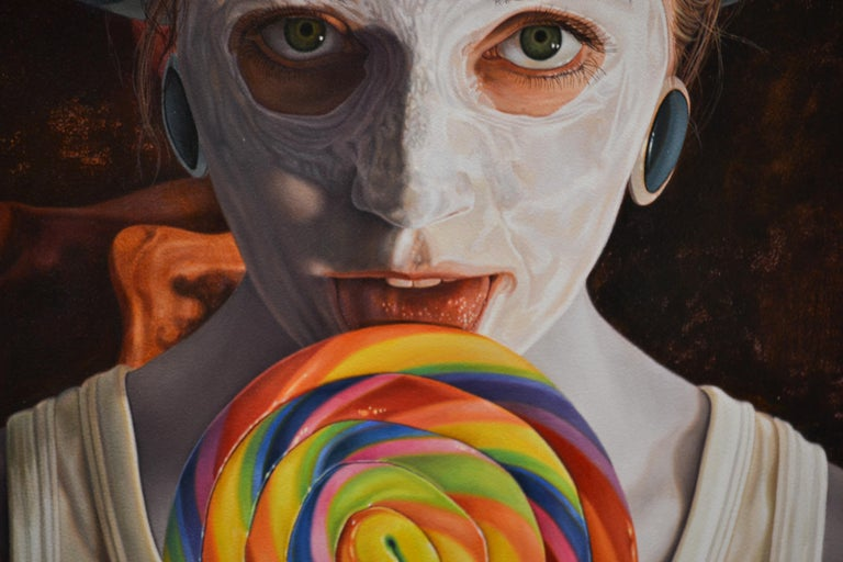 Stuck -  21st Century contemporary narrative portrait painting - Contemporary Painting by Gerard Schriemer