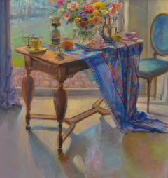 Table with blue Tablecloth on Summerday- 21st Century Contemporary Painting