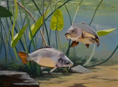 Cypri D3- 21st Century Contemporary Realistic Painting of two Fishes, Swimming