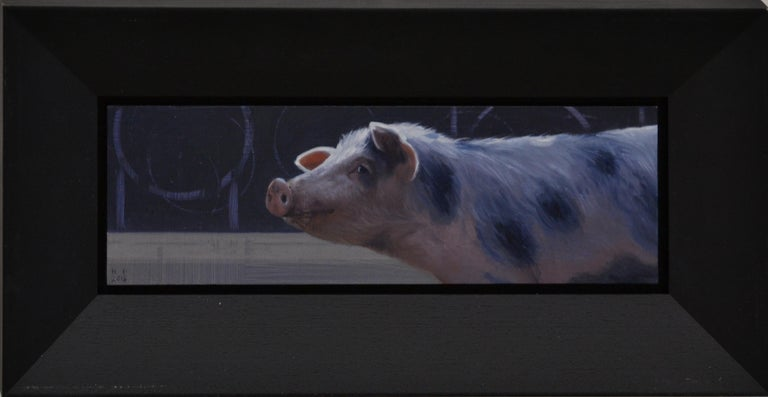 Piggy- 21 st Century Contemporary Painting of a Pig - Purple Figurative Painting by Hinke Posthuma