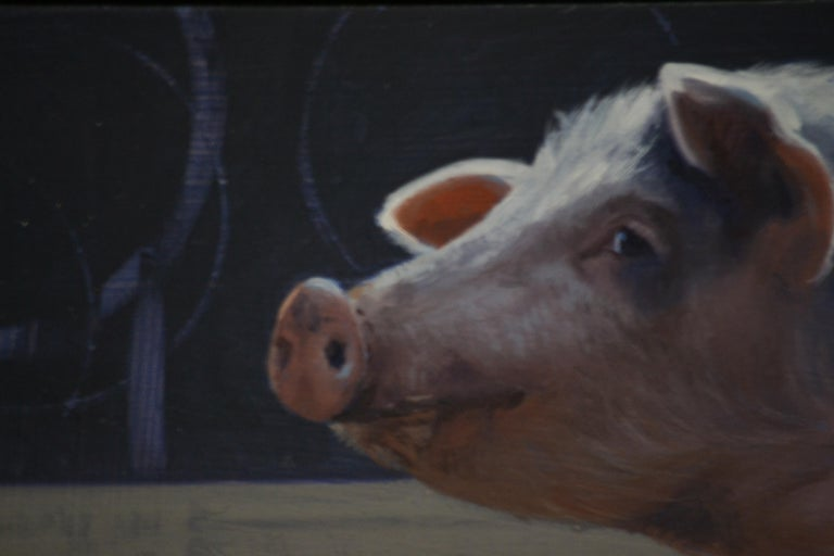 The work of artist Hinke Posthuma exudes a great love for animals.     Her sheep, goats, pigs have endeared the viewer. The suggestion of fur, fabric expression is special! You see exactly where the paintbrush of Hinke Posthuma was and where there