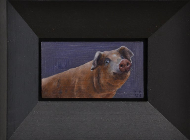 Pig- 21st Century Contemporary Animal Oil Painting of a Dutch Pig - Black Figurative Painting by Hinke Posthuma