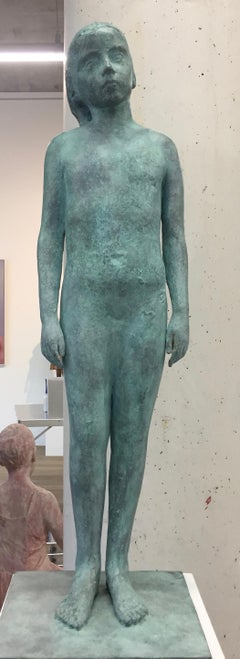 Girl, standing- 21st Century Contemporary Bronze Sculpture of a Young Girl