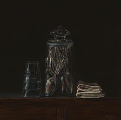 Cutlery in Jar- 21st Century Contemporary Realistic Still-life Painting