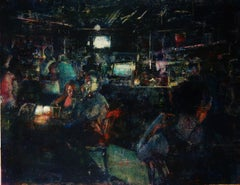 Desire- 21st Century Contemporary Painting of a Café Interior with People