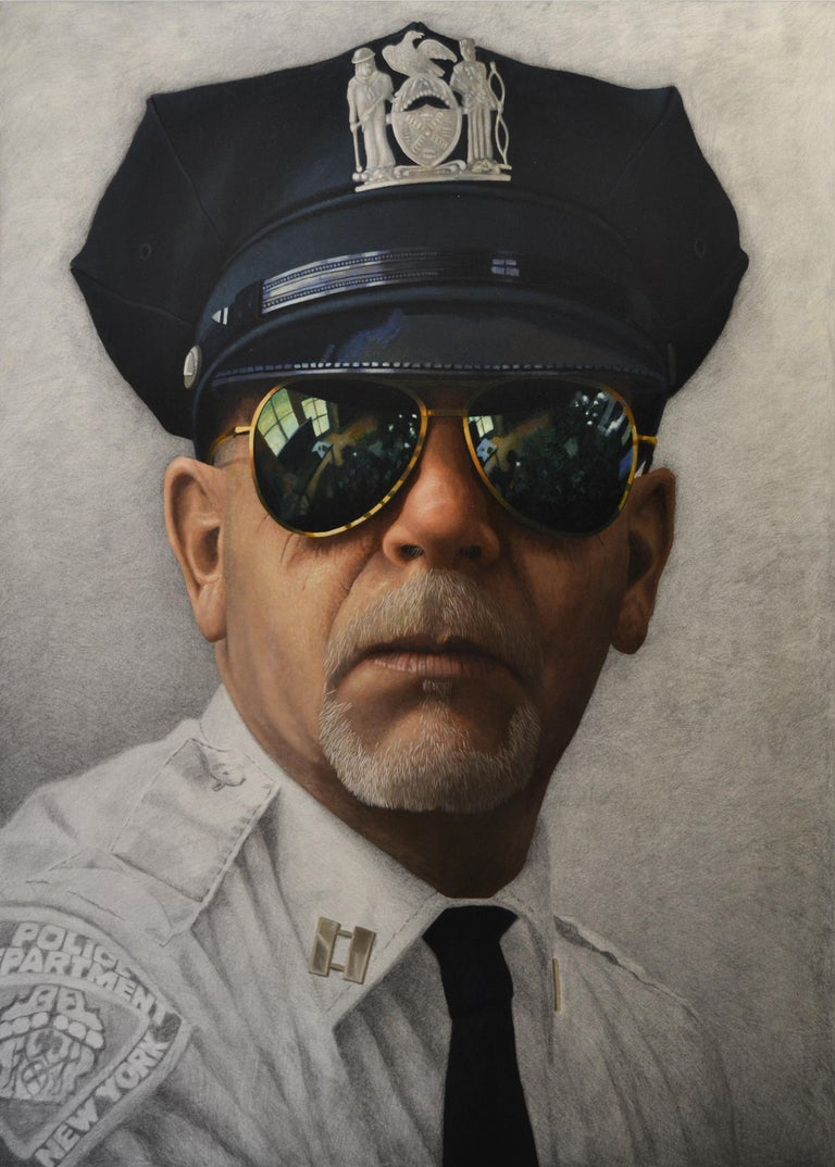 """Cop"" Erik de Jong, 21st Century Contemporary Oil Painting On Wooden Panel - Gray Figurative Painting by Erik de Jong"