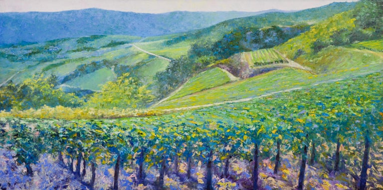 Vineyard - Ronald Soeliman, 21st Century Contemporary Oil Painting Landscape - Gray Figurative Painting by Ronald Soeliman