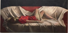 Peace- 21st Century Contemporary Figure Painting of a Woman lying on a Sofa