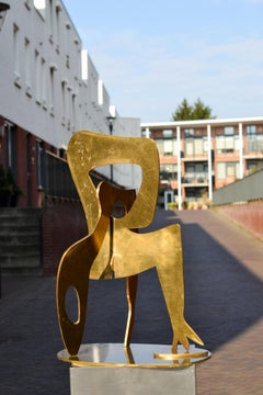 Dancer - Jan Wils 21st Century Contemporary Abstract Sculpture Brass