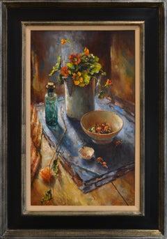 Floor Still-life with Nasturtium - 21st Century Contemporary Still-life Painting