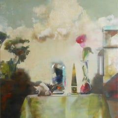 Still-life with butterflies under a bell jar- 21st Century Contemporary Painting
