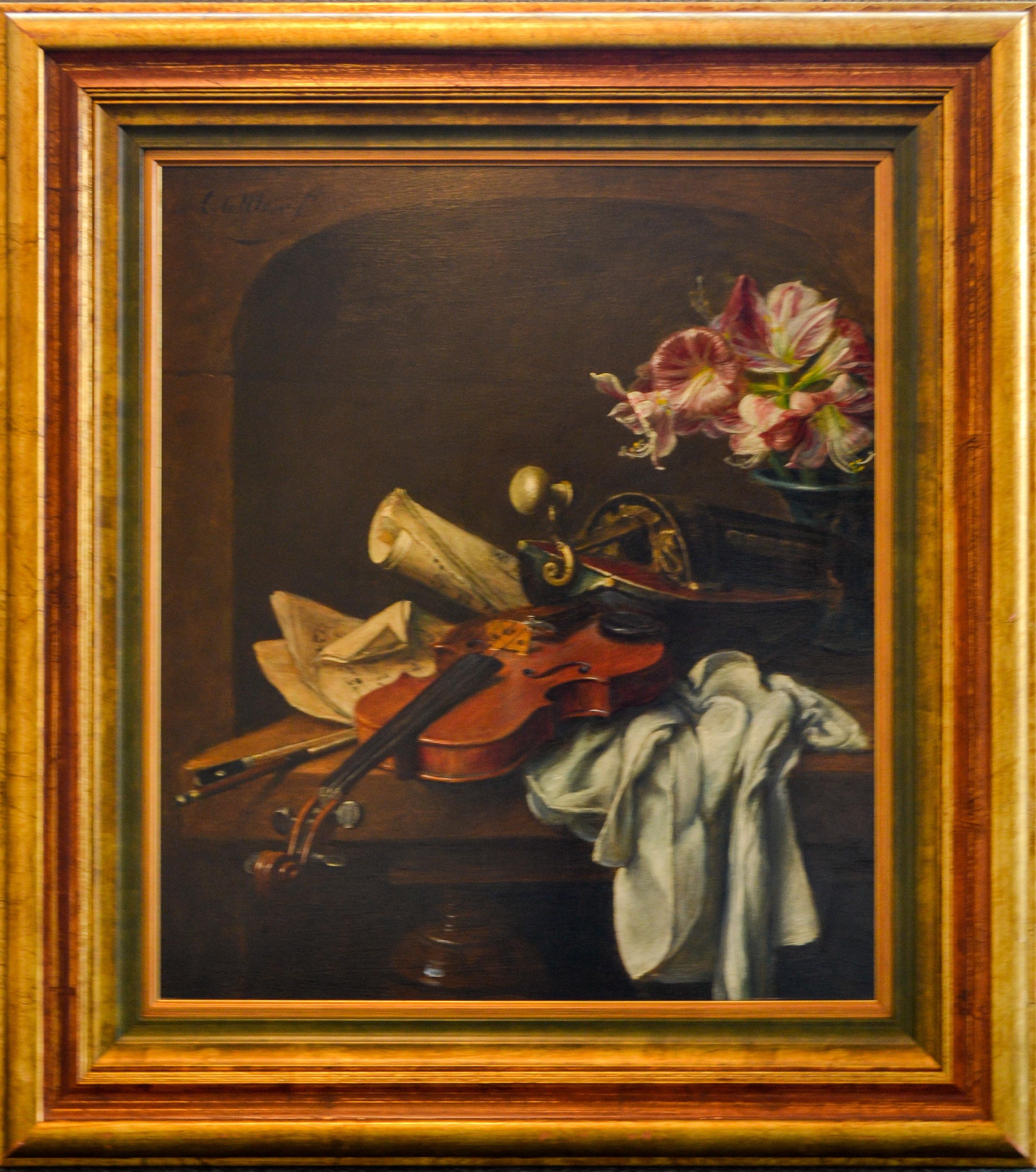 Violin and Flowers - Classic Style Oil Painting by Cornelis Le Mair