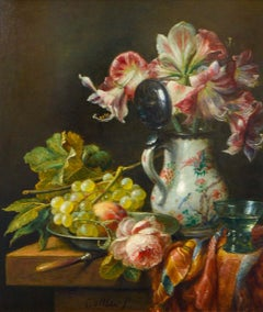 Grapes And Flowers - Classic Style Oil Painting by Cornelis Le Mair