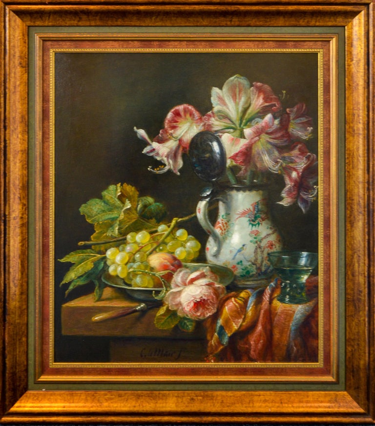 Grapes And Flowers - Classic Style Oil Painting by Cornelis Le Mair For Sale 1