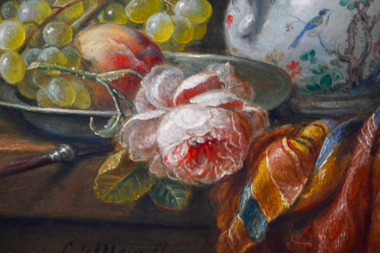 Grapes And Flowers - Classic Style Oil Painting by Cornelis Le Mair For Sale 2