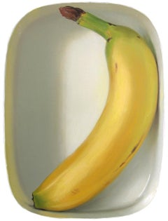 Banana in lunchbox- 21st Century Contemporary Still-life Painting of a banana