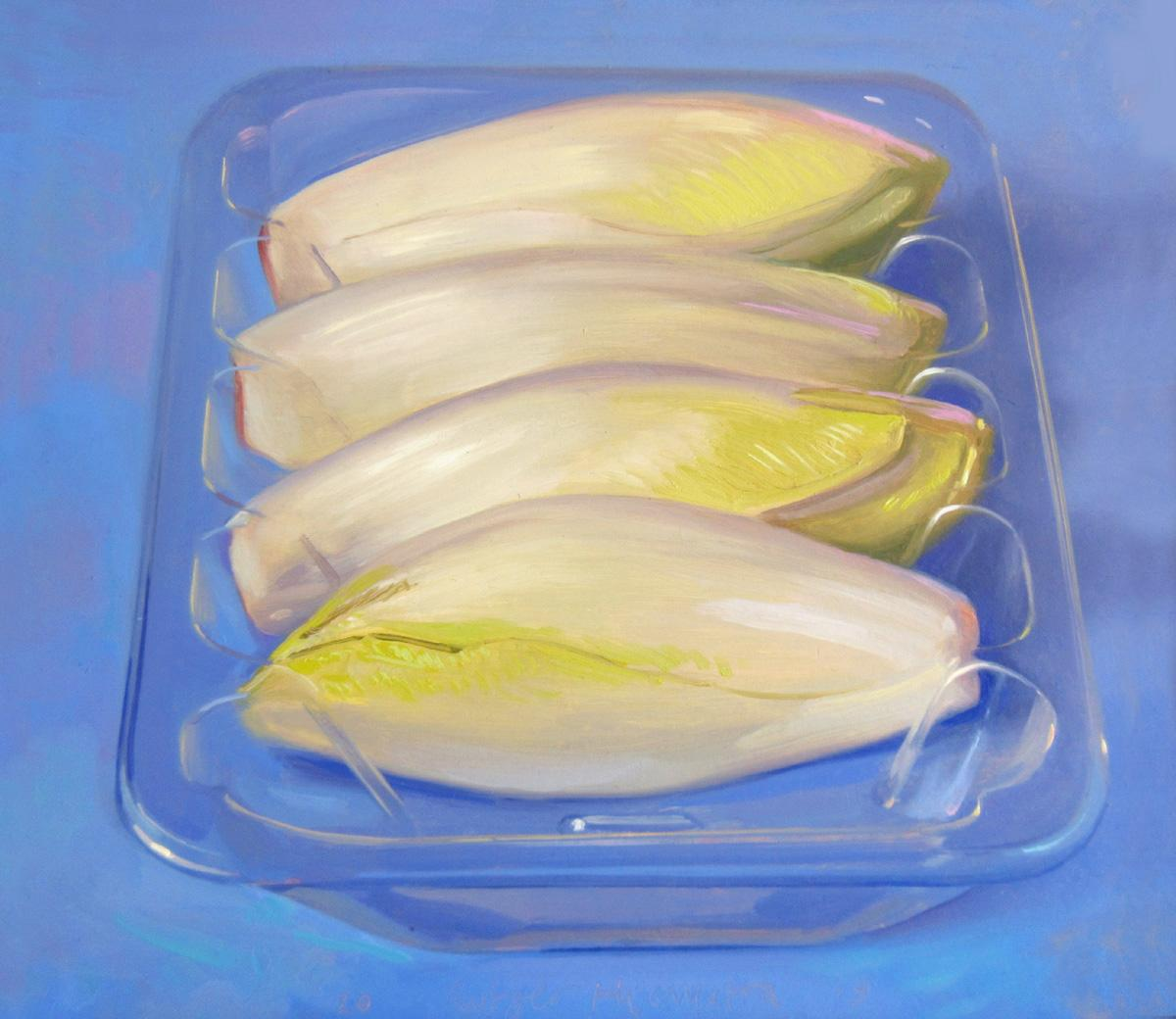 Chicory- 21st Century Contemporary Still-life Painting of vegetables in plastic