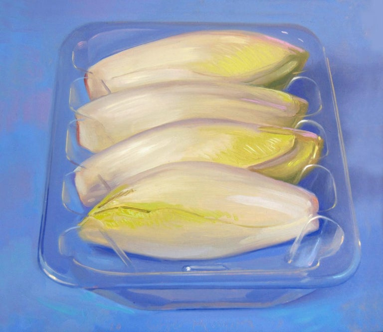 Rutger Hiemstra Still-Life Painting - Chicory- 21st Century Contemporary Still-life Painting of vegetables in plastic