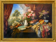 Large Flaunt Still-Life with Music Instruments and Fruits - by Cornelis Le Mair