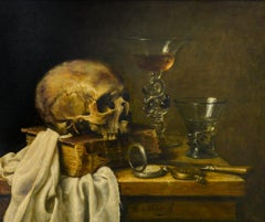 Skull with Book, Venetian Glass, Rummer, Knife and Pocket Watch Dutch Still-Life