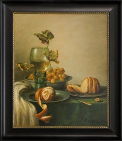 Still-Life with Rummer, Bread and Orange, Oil Painting by Cornelis Le Mair