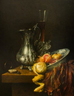 Jug with Peeled Lemon and Delfts Blue Bowl - Oil Painting by Cornelis Le Mair