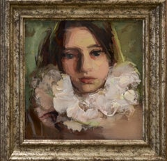 En Face III - Portrait of a girl, made of epoxy by Dutch painter Anne-Rixt quick