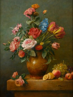 Flower still life with roses, tulips in yellow vase- 21st Century  Painting
