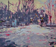Railroad Crossing II - 21st Century Contemporary Oil Painting by Eric Schutte